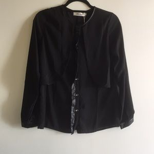 Miss line edgy black button up blouse sm leather